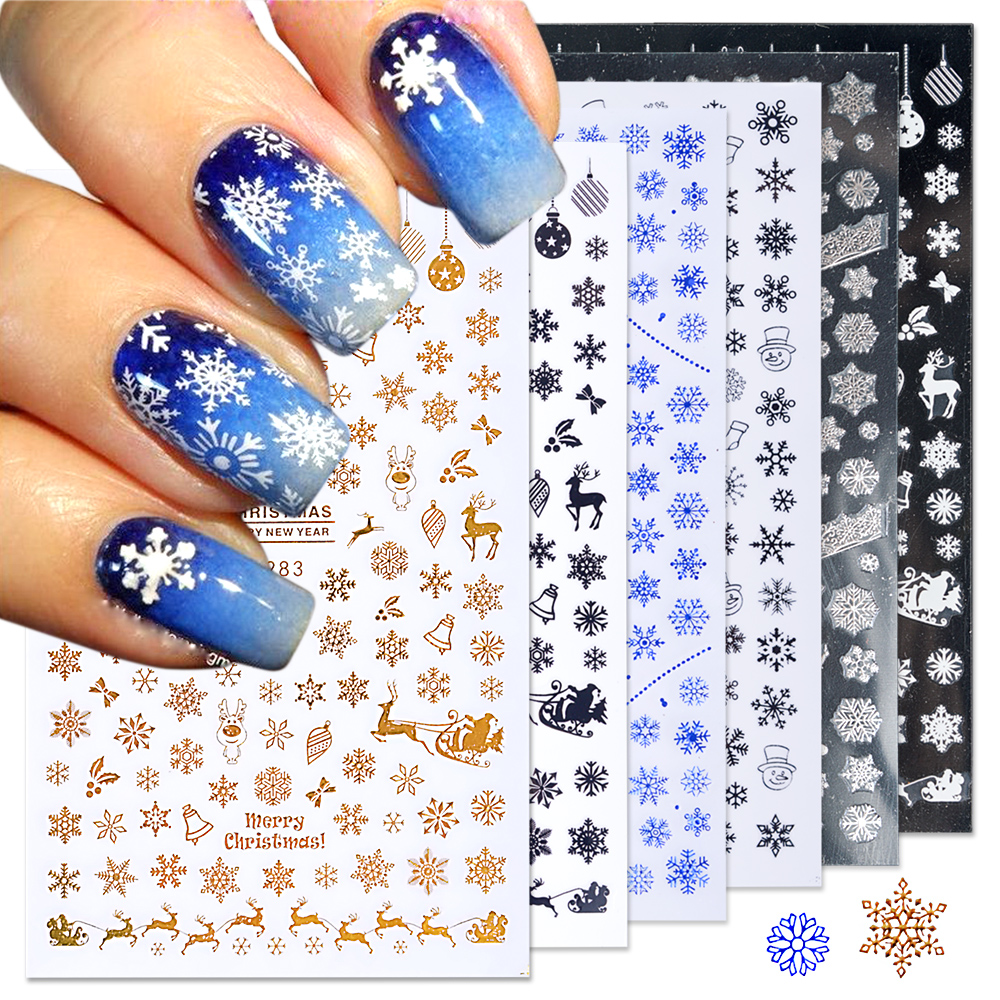 1pcs christmas nail stickers decals snow flakes xmas wraps snowman winter nail art decorations manicure tools sliders bef281 284