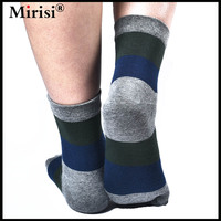 Breathable And Soft Cotton More Durable Stripe Patchwork Middle Tube Style Men S 5 Toe Sock