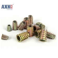 50Pcs M4/M5/M6*8/10/13 Zinc Alloy Thread For Wood Insert Nut Flanged Hex Drive Head Furniture Nuts AXK058