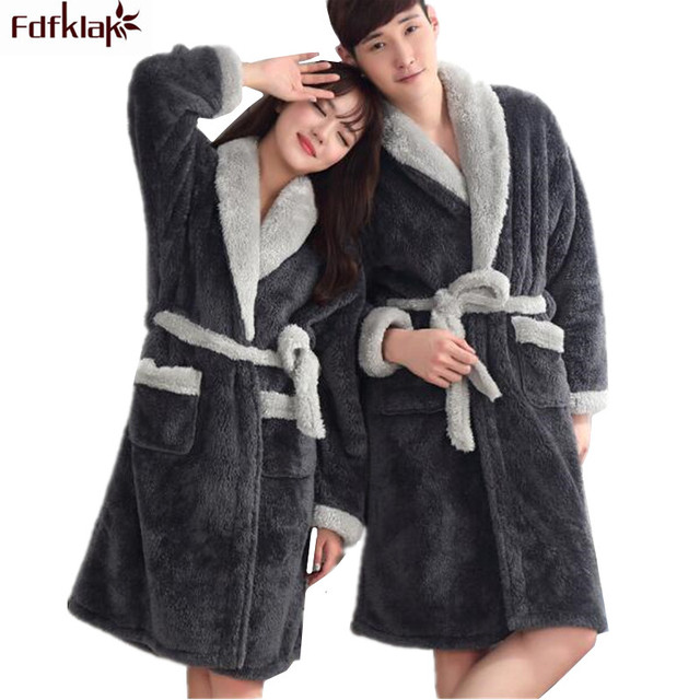 df142a470f Fdfklak Couples Robe Winter Flannel Thick Robes Casual Female Bathrobes  Long Warm Home Dressing Gowns For Women robe femme