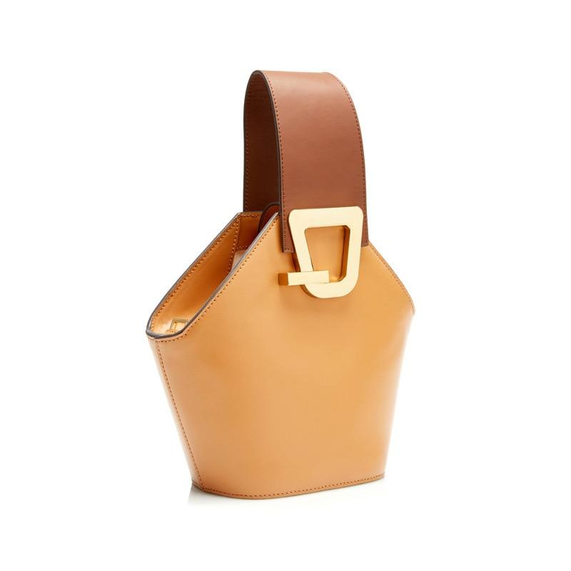 Blascher جديد جلدية واسعة حقيبة كتف تصميم دلو حزمة جديد المنتج بسيطة الاصطدام اللون باليد تتحرك الإناث حقيبة LA24-في حقائب الكتف من حقائب وأمتعة على  مجموعة 3