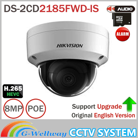 Hik DS-2CD2185FWD-IS 8MP Network Dome Camera H.265 Updatable CCTV Camera With Audio and Alarm Interface SD Card Slot зимняя шина nokian hakkapeliitta 8 suv 265 50 r20 111t