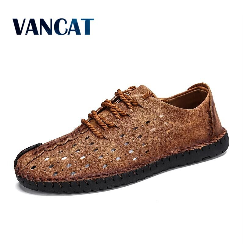 Vancat 2018 New Summer Comfortable Casual Shoes Loafers Men Shoes Quality Split Leather Shoes Men Flats Hot Sale Moccasins Shoes adidas praeztige synth