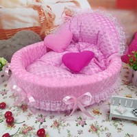2016 NEW Luxury Pet Dog Bed Cute Princess Nest Pet Cat Bed Sofa Dollhouse Blue Pink