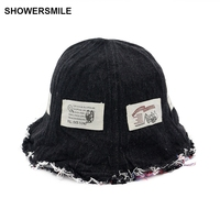 SHOWERSMILE Brand Reversible Bucket Hat Denim Japanese Patch Fishing Caps For Men Women Hip Hop Designer