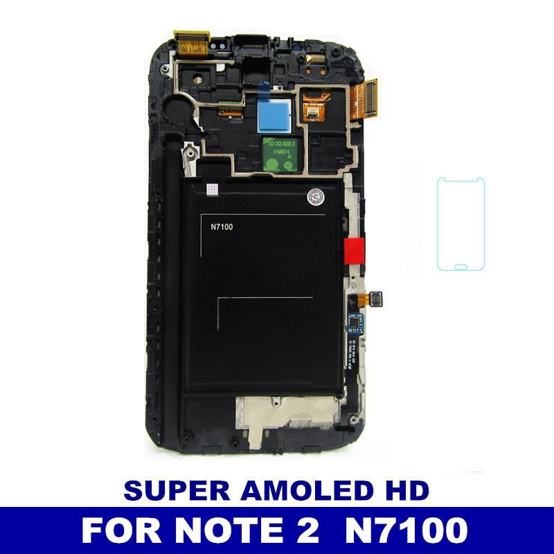 imágenes para 100% Probados de Trabajo libre del LCD Del Teléfono Para Samsung Galaxy Note N7100 Nota 2 Digitalizador Marco Asamblea de Pantalla Táctil Super AMOLED Pantalla