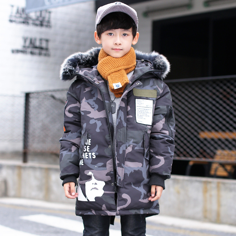 Thick Long Boys Winter Jacket Camouflage Coats Hooded down COTTO Fur Collar Overcoat Snowsuit Teenages Outerwear WUA810241 boys winter jacket camouflage coats hooded down coat fur collar overcoat cotton snowsuit teenages outerwear wua791702