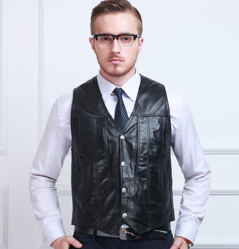 Winter Wool Vest 4XL 5XL Men's Fashion Slim Genuine Leather Vest More Pockets Reporter Clothing ! M 5XL free shipping