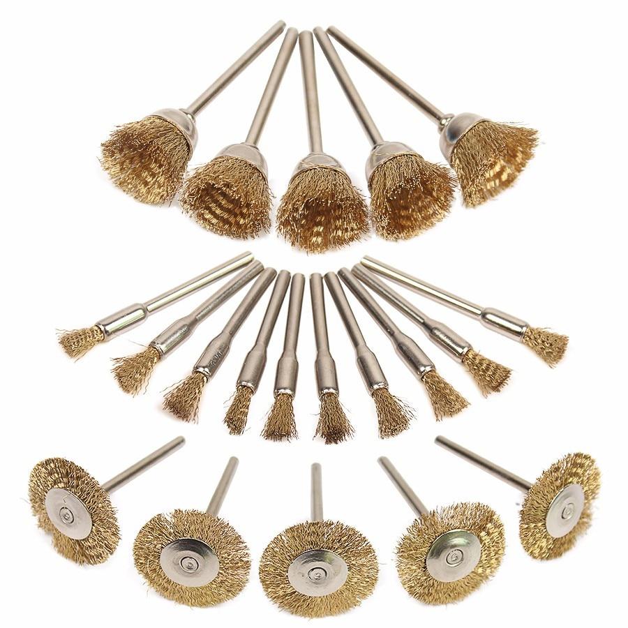 Brass Steel Wheel Dremel Wire Brush Set For Dremel Tools Accessories 20pcs/Set  Burr Abrasive Head Deburring Drill Tools W