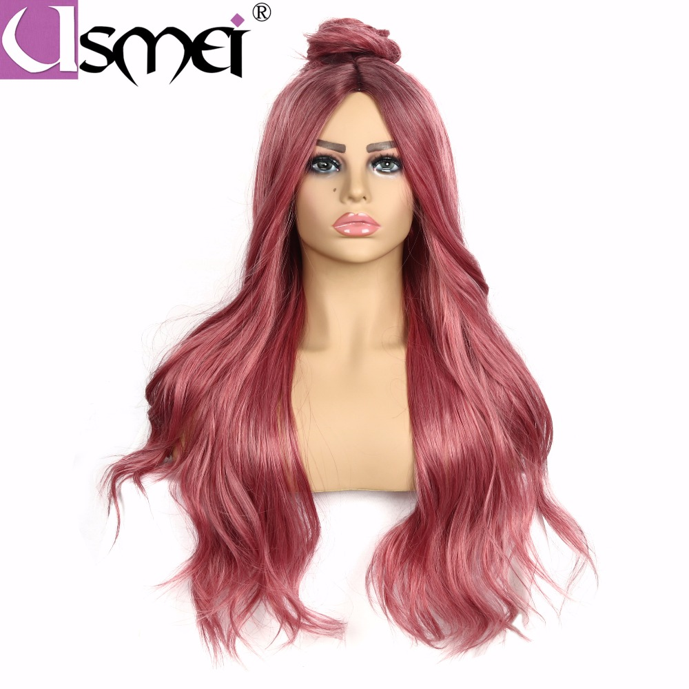 USMEI Hand Made front Long Ombre pink hair High Density Temperature Synthetic Wig For White Women Glueless Wavy Cosplay Hair Wig