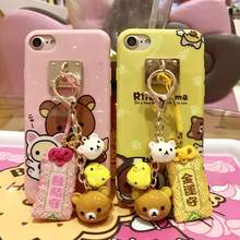 Rilakkuma leuke cartoon ring bell silicone telefoon case cover voor iphone 11 pro 7 6 6splus 8 X XR XS grappige mooie rubber gel case(China)