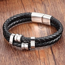 XQNI Adjustable Genuine Leather Bracelets 19 21CM Special Pattern Bangle For Boyfriend Birthday Gift Big