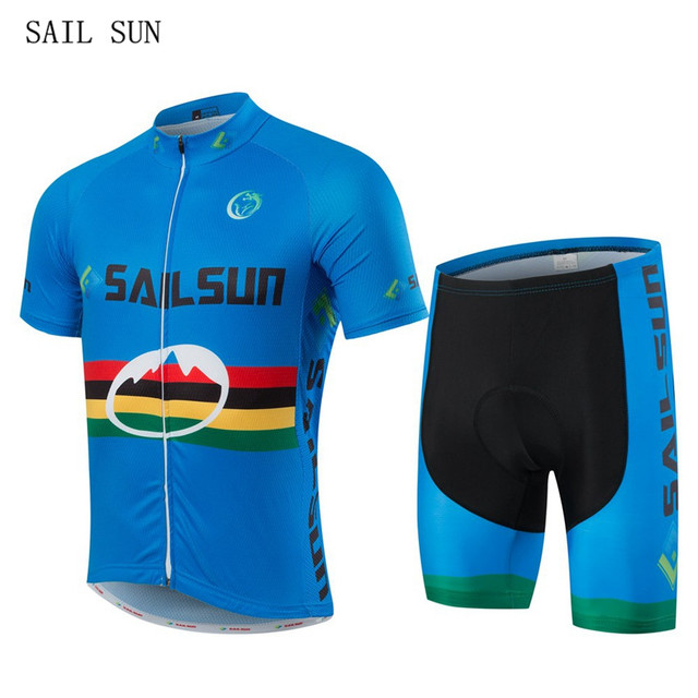 SAIL SUN Blue Bike Cycling Clothing Cycling Jersey Sets With Bib Breathable  Men s Bicycle Short Sleeve Outdoor Sportswear CC6133 ae57b7747