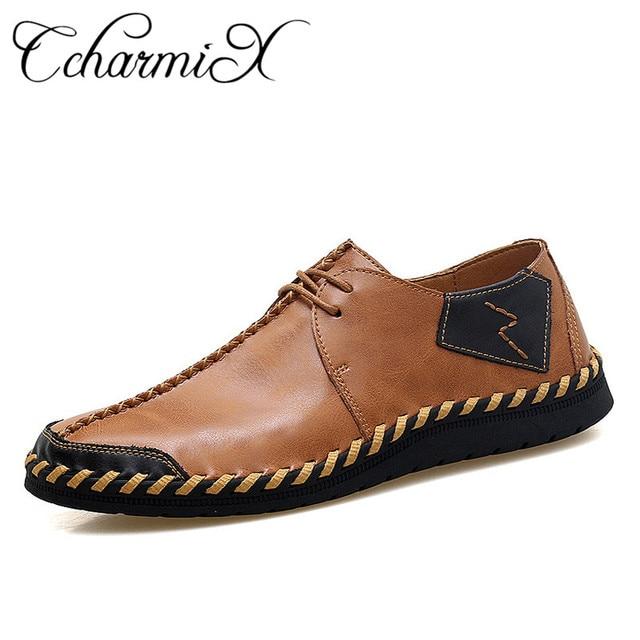 CcharmiX брендовая мужская повседневная обувь, большие размеры, мужская  обувь ручной работы из спилка 0230c116c50