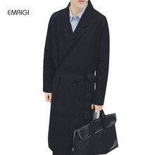 Männer trenchcoat für herbst und frühling, einfache reihe von strickjacke im stil der casual stil, jacken mantel outwear trenchcoat