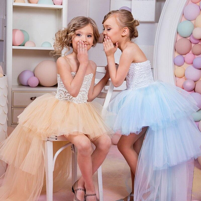 Новые платья для девочек с цветами, милое праздничное платье из крепа для причастия, нарядное платье для маленьких девочек, детское платье д...