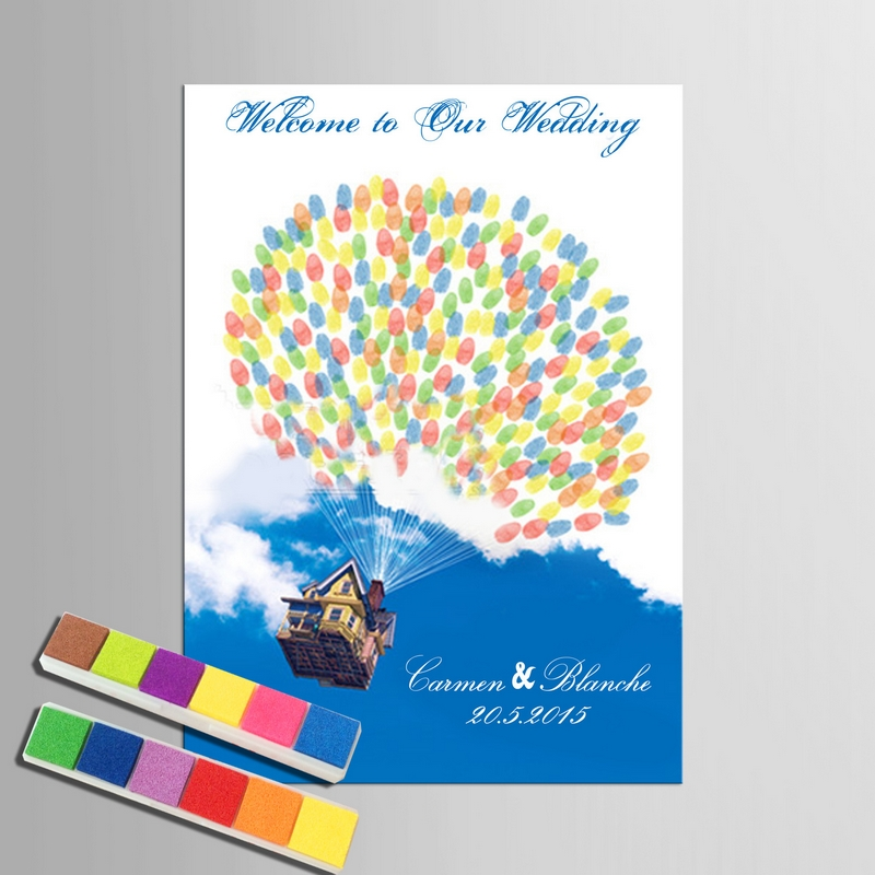 Personalised Wedding Guest Book Flying House Colorful Ballons Diy Fingerprint Attendance Wedding Accessories For Wedding Gift