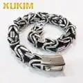 Xukim Jewelry 9.5mm 316L Stainless Steel Byzantine Chain Bracelet Bangle Miami Cuban Chain Mens Jewelry Father's Day Gift