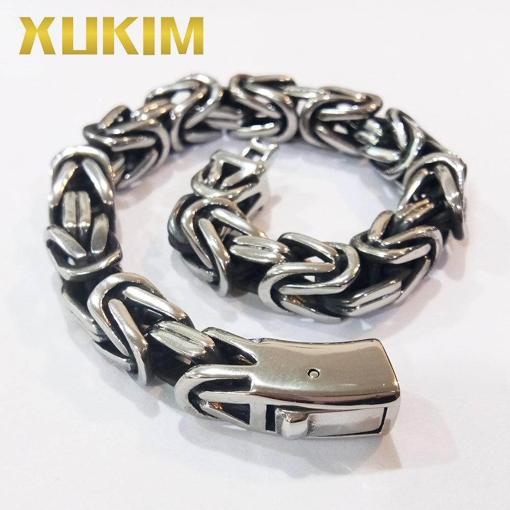 Xukim bijoux 9.5mm 316L acier inoxydable byzantin chaîne Bracelet Bracelet Miami chaîne cubaine hommes bijoux cadeau de la fête des pères