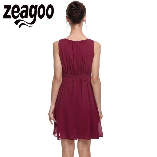 Zeagoo Elegant Dress Summer Chiffon Sleeveless Draped Flare Fit party Dresses Vestidos Fashion Party Casual Summer Dress