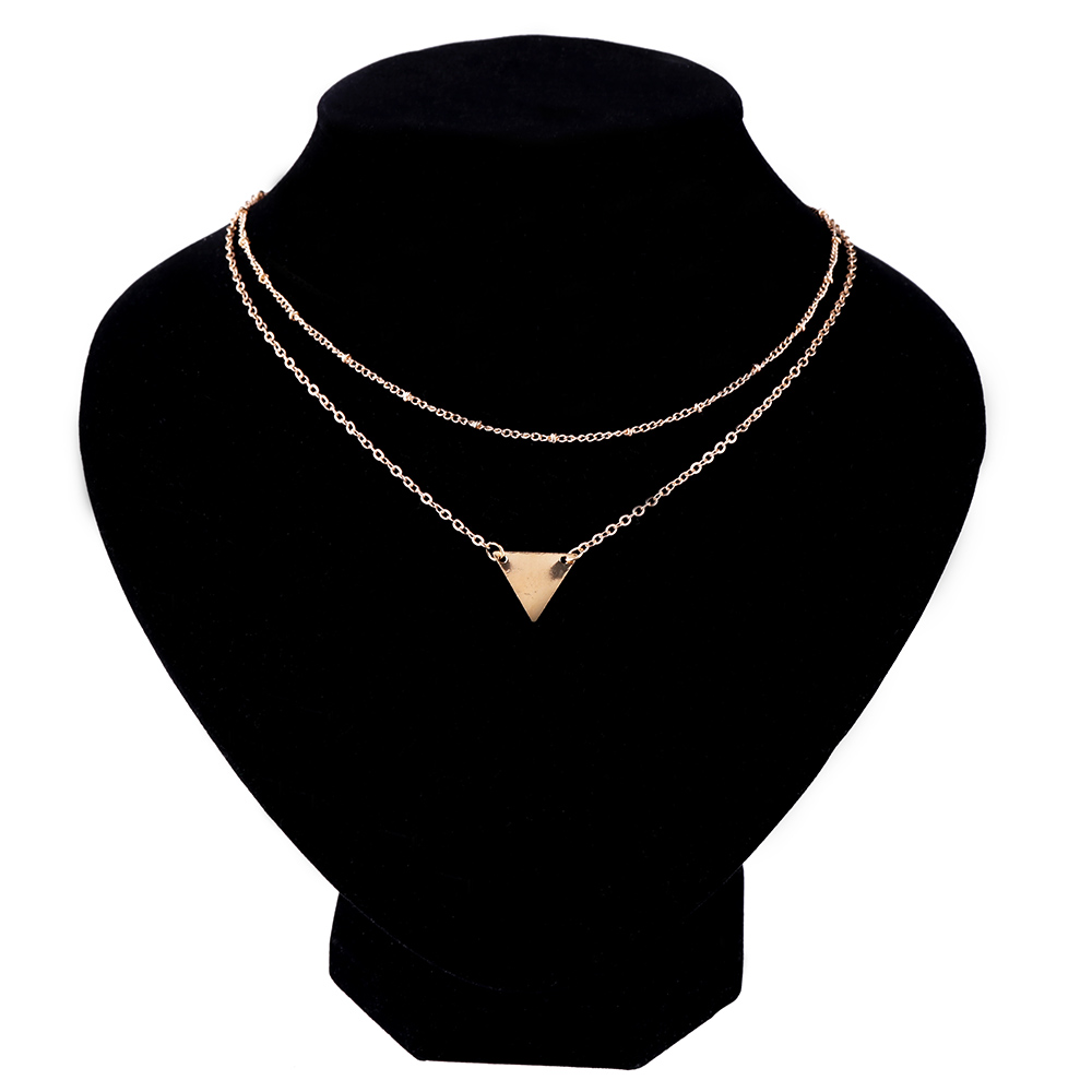 1 Pcs New Fashion Women 2 Layers Gold Sequins Pendant Necklace Charming Choker Jewelry Nice Gift Good Quality