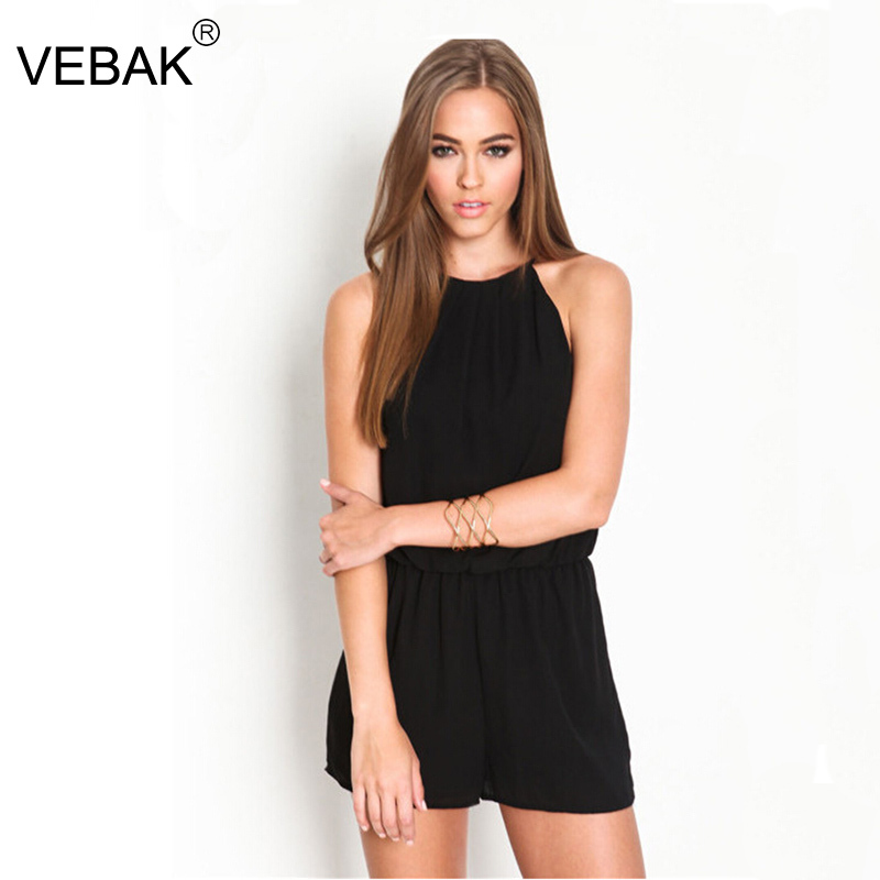 black rompers womens jumpsuit sleeveless halter hollow out ...