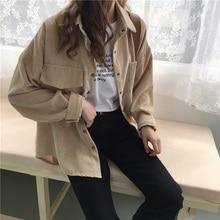 Autumn Women Loose Shirts Blouses Korean Solid Blouse Long Sleeve Pockets Cordur