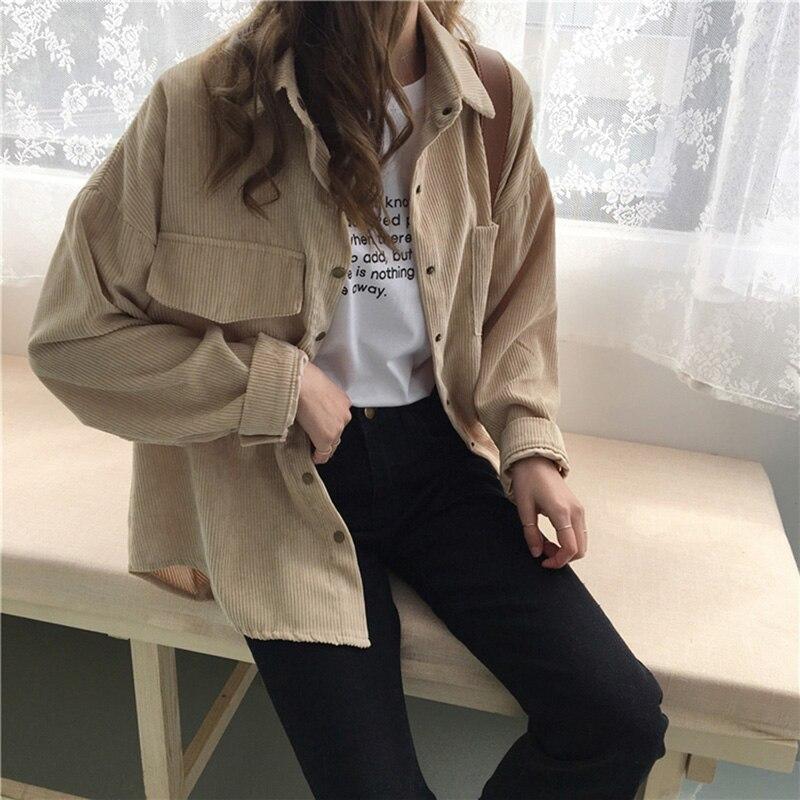 Autumn Women Loose Shirts Blouses Korean Solid Blouse Long Sleeve Pockets Corduroy Blouses Women Tops Outwear Femme Coats