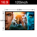 Newest PVC Soft Home Theater Matt white Projector Video Movie Screen with holes Portable folding Wall Mounted 120inch 16:9