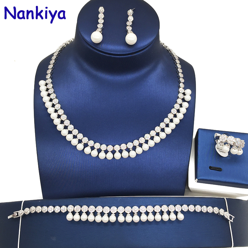 Nankiya Elegant Simulated Pearl Copper Bridal Jewelry Sets Wedding Jewelry AAA Cubic Zirconia Round Necklace Earring Set NC036 rose gold color shell round simulated pearl element rhinestones micro setting luxury lady jewelry set necklace earring wholesale