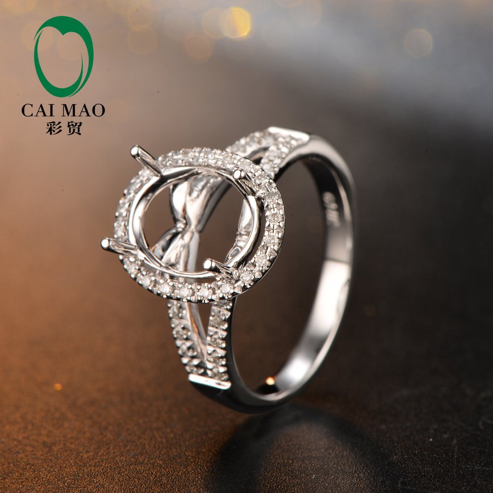 8x10mm Ovale di Figura 14 K White Gold & 0.21ct Diamond Engagement Semi di Montaggio Regolazione Anello