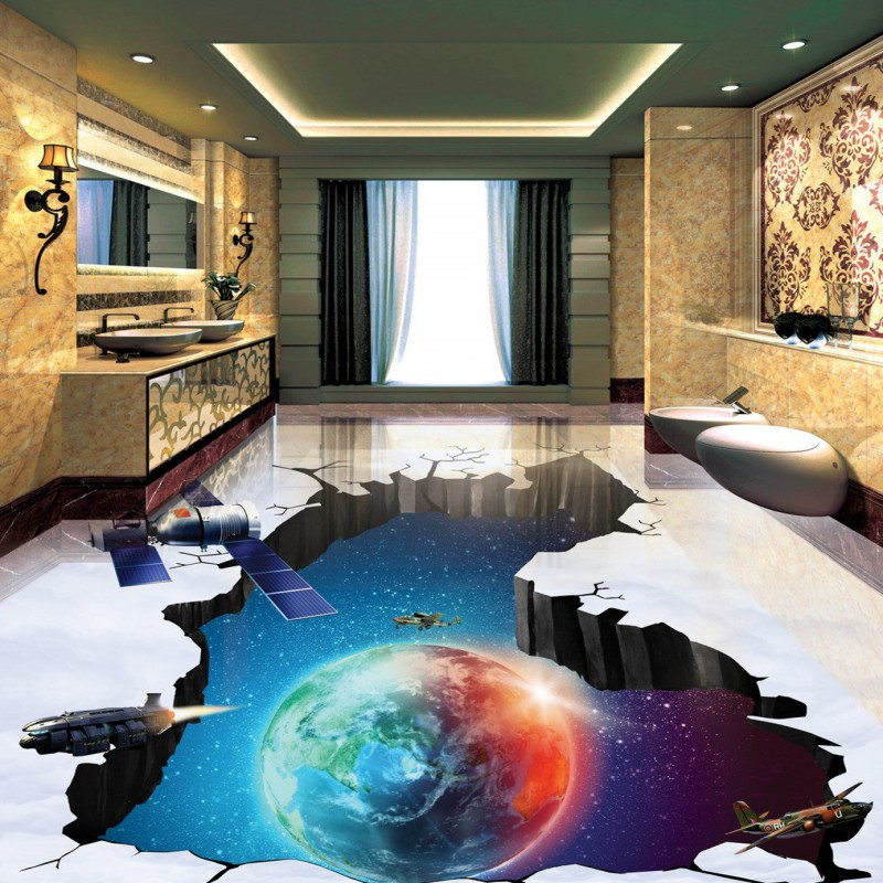 Free shipping photo floor Cosmic Earth Blue Sky Spacecraft Bathroom Living Room 3D Floor Painting custom wallpaper flooring blue earth cosmic sky zenith living room ceiling murals 3d wallpaper the living room bedroom study paper 3d wallpaper