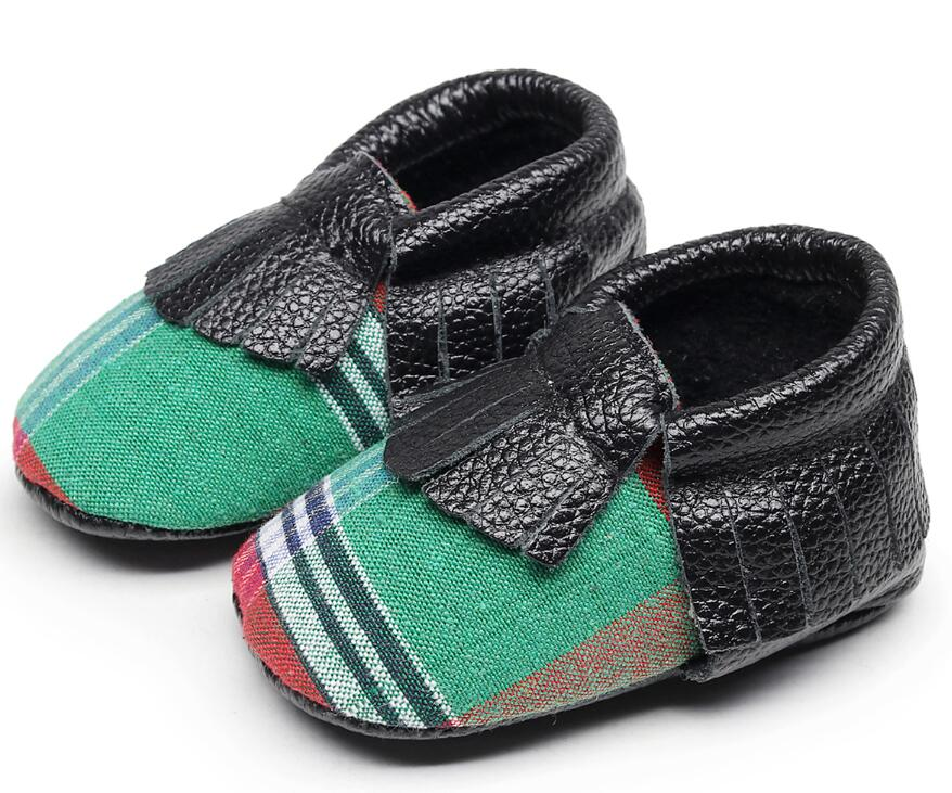 2018 New Customs Buffalo Plaid baby shoes Genuine Leather Sequins stripe Baby moccasins tassel First Walkers Infant Shoe