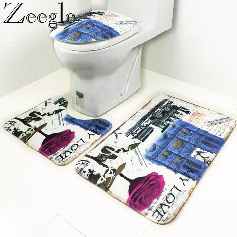 Zeegle 3 pcs/set Coral Fleece Mats For Bathroom And Toilet Anti-slip Floor Mats Bathroom Rugs Toilet Bath Mats Shower Foot Mats