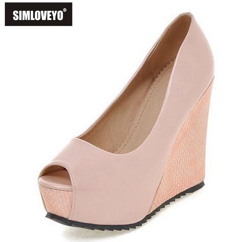 Sweet Pink Peep Toe Women Sandals Buckle Summer Shoes Elegant Platform Wedges Shoes,Pink,3
