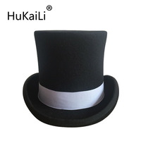 4.5 inch and 7 inch Wool Felt Top Hat with grey grosgrain/ Victorian Steampunk Hat / Cylinder Hat/ Stove pipe Hat /Topper