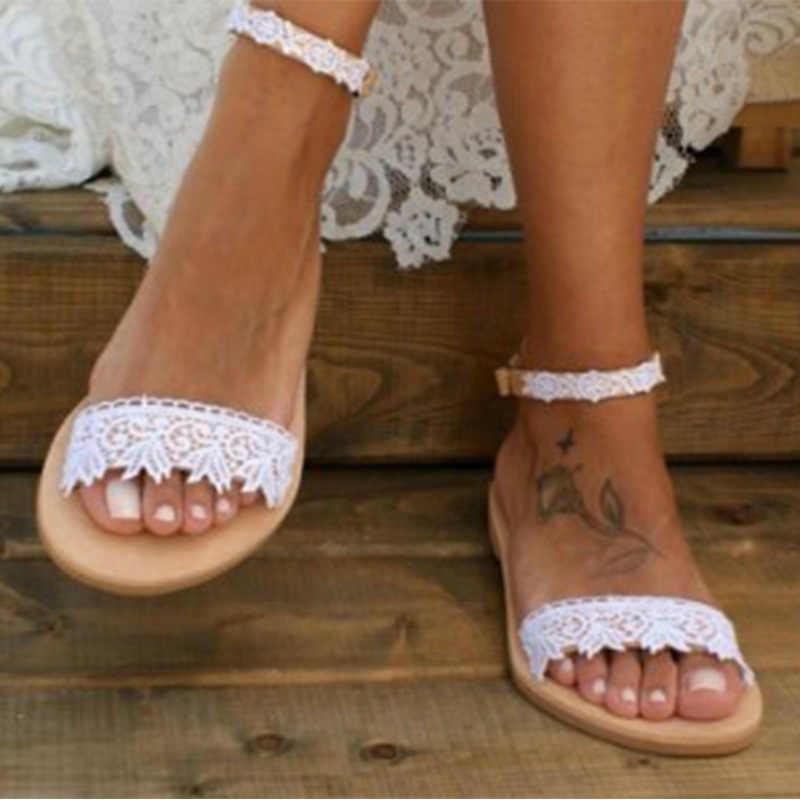 Summer women flats sandals white lace