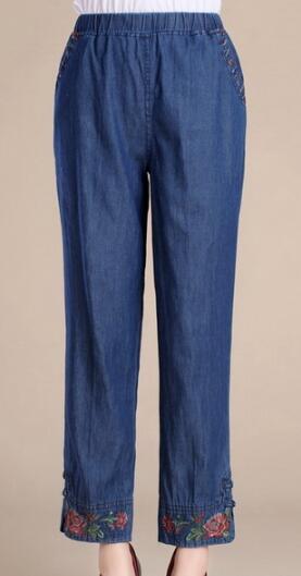 Más Elástico Madre Tamaño 4xl Quincuagenario Casual L Pantalones 9 Recto Azul Capris Mujeres Algodón Cintura Pantalón Vintage tAzfqwBR4z