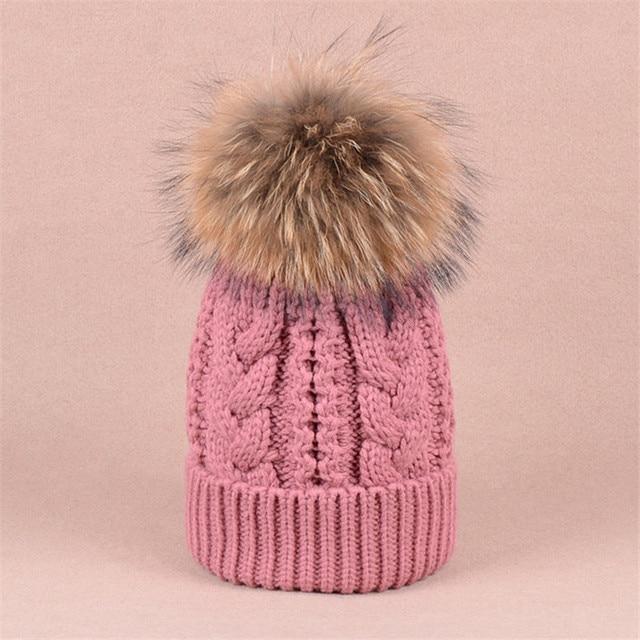 2016 NEW Autumn and winter brand knitting Warm wool real fur hat beanie skullie unisex accessories