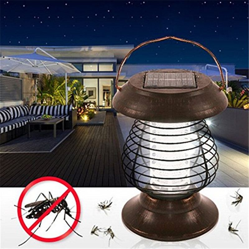 UV LED Solar Powered Led Light Garden Lawn Bedroom Anti Mosquito Insect Pest Bug Zapper Killer