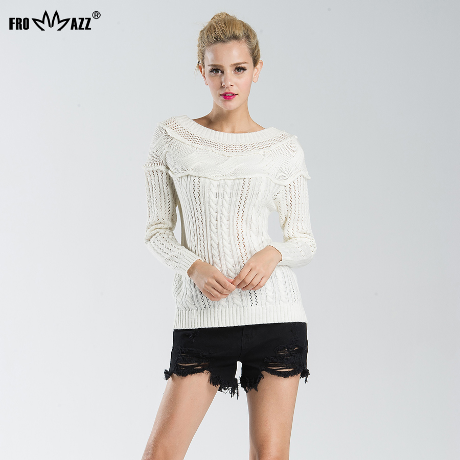 FROMMAZZ 2018 New Autumn Winter Fashion Women Sexy Off Shoulder Casual Sweater Loose Knitted Top Pullovers Oversized Knitwear