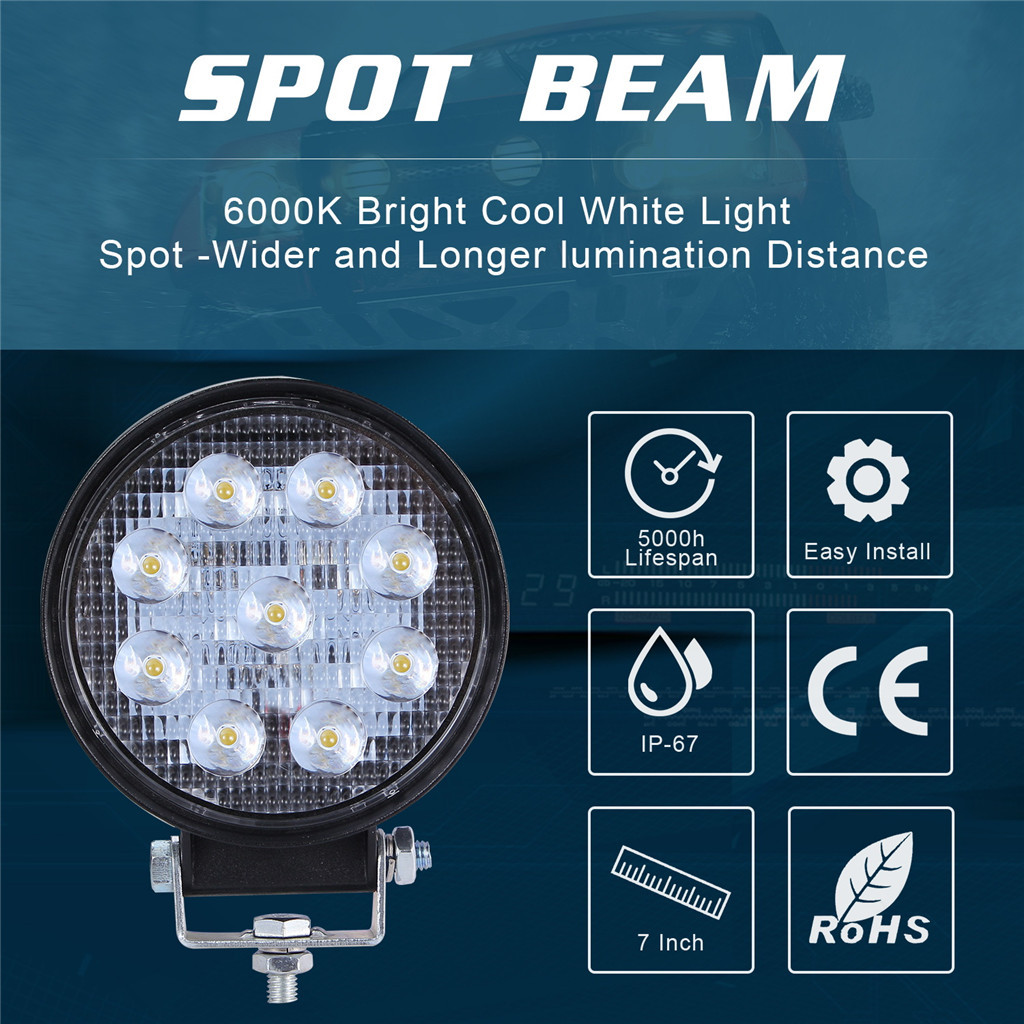 Image 4 - 2x LED Lamps For Cars LED Work Light Pods 4 Inch 90W Round Spot Beam Offroad Driving Light Bar Luces Led Para Auto-in Light Bar/Work Light from Automobiles & Motorcycles