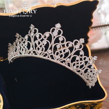HIMSTORY European Brides Oversize Sparkling Silver Full Zircon Tiaras Crown Luxurious CZ Hairbands Wedding Hair Accessories все цены