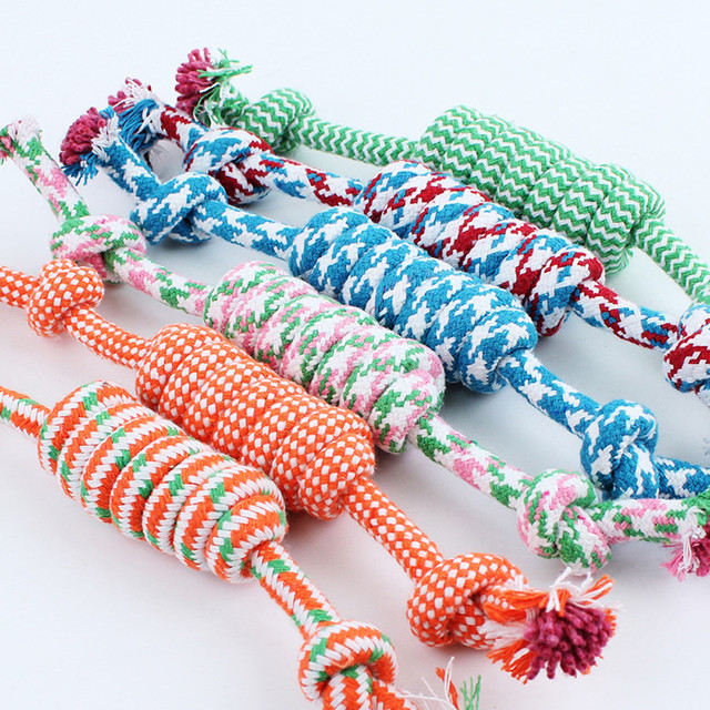 1PC Random Color New 27CM Dog Pet Puppy Chew Cotton Rope Ball Braided Knot Toy Durable Braided Bone Rope Funny Tool 1