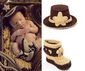 fc5923233fd25 Crochet Cowboy Boots Set in Brown Newborn Boy Baby Hat
