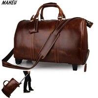Высококачественная Дорожная сумка на колесиках из натуральной кожи, большая вместительность 21 , Женская дорожная сумка, красные мужские ко