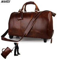 High Quality Genuine Leather Travel Trolley Bag Big Capacity 21 Women Travel Duffle Bag Red Men Leather Wheeled Bags