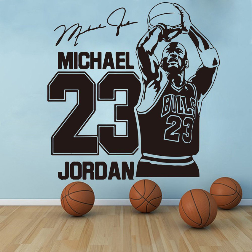 Michael Jordan Wand Aufkleber Sport Basketball Wohnkultur 23 Bulls Kunst Vinyl Wand Aufkleber Aufkleber Boy Zimmer Kinderzimmer Dekoration j135