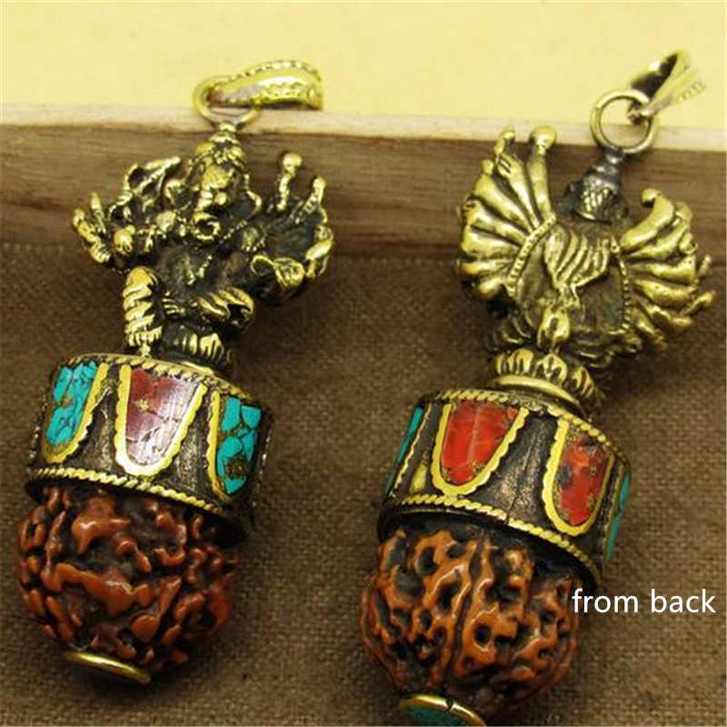 TBP689 Hindu Ganesh Amulets Brass Golden Multi-hands Ganesh Pendants Tibetan Rudraksha Bodhi Pendants