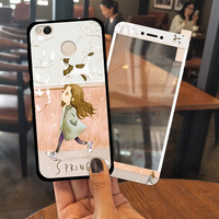 Xiaomi Redmi 4X Case Cartoon Painted Soft TPU Redmi 4X Cover With Tempered Glass Film And